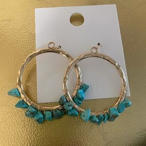 NWT Gold Hoop Earrings with Turquoise Beads